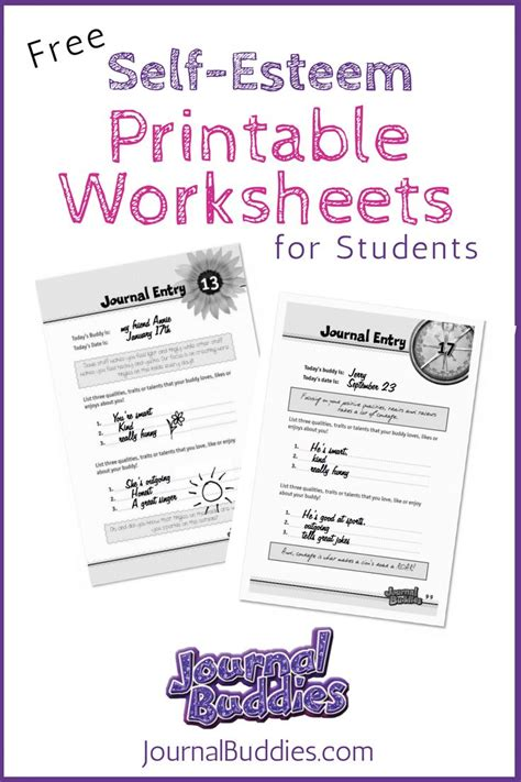 free printable self esteem worksheet for creative