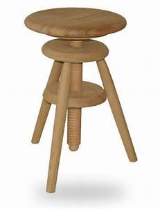 Tabouret Rondin De Bois : tabouret bois vis horloger r glable hauteur ch ne massif ~ Teatrodelosmanantiales.com Idées de Décoration