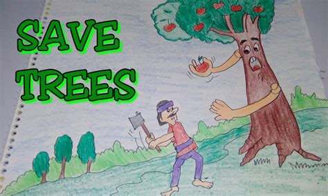 drawing tutorial save trees dont cut trees easy