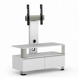 Meuble Avec Support Tv : elmob tura tu 095 01f blanc meuble tv elmob sur ldlc ~ Dailycaller-alerts.com Idées de Décoration