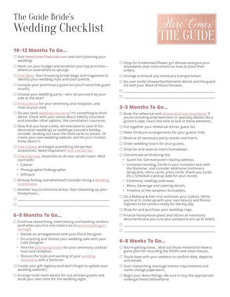 printable wedding party checklist templates