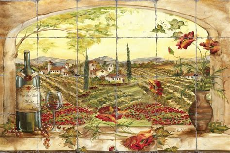 Cheap Wine And Grapes Kitchen Decor by Tre Sorelle Printed Tile Murals