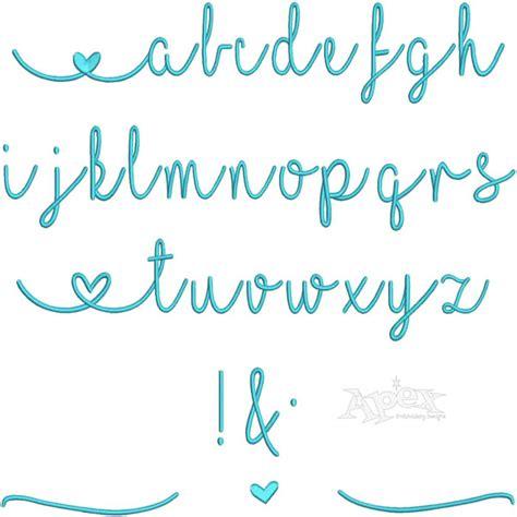 heart script alphabet embroidery font