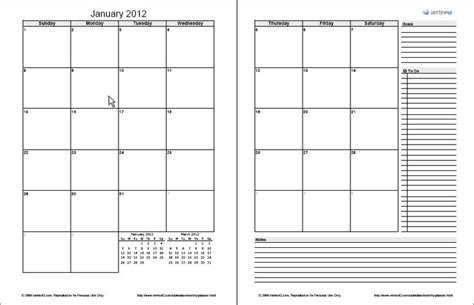 page monthly planner template excel printed