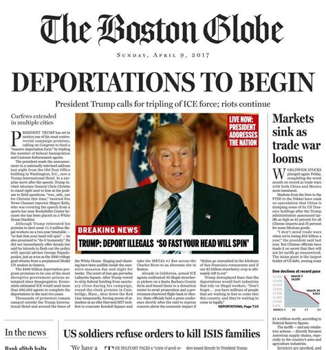 Commentary as a regular feature found its way into the. 'Boston Globe' Runs Fake Front Page Detailing A Donald ...
