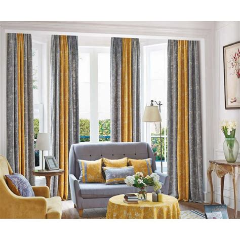 mustard yellow and gray patterned modern room divider curtains