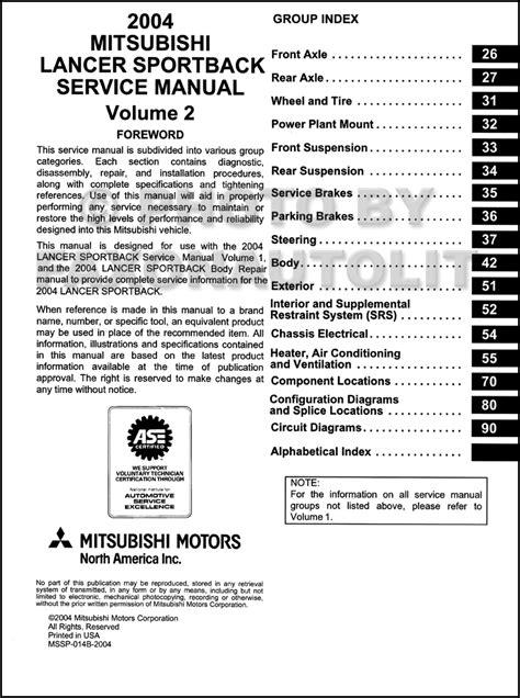 auto repair manual free download 2004 mitsubishi lancer evolution security system 2004 mitsubishi lancer sportback repair shop manual original 2 volume set