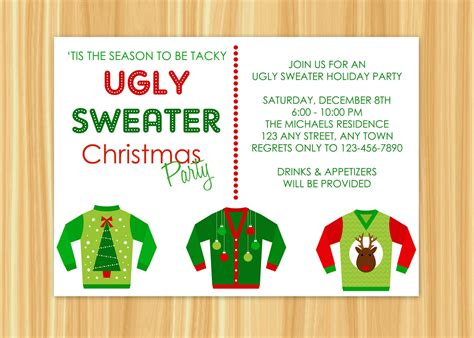 printable ugly sweater party invitations templates