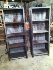 barn wood and corrugated metal book shelves barnwood furniture facebook com revivalwoodworks