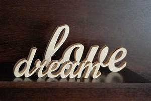 Wooden words wall decor home design for Best brand of paint for kitchen cabinets with custom wall word art
