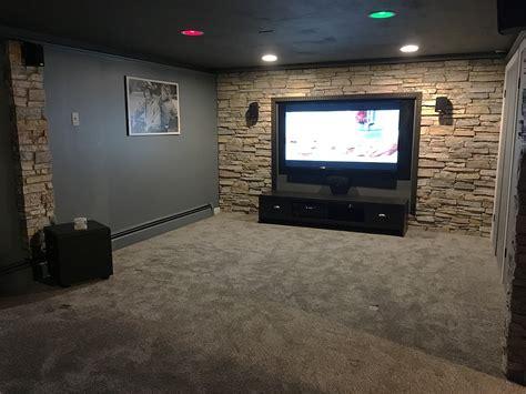 remodeled basement  faux stone panels architectural depot