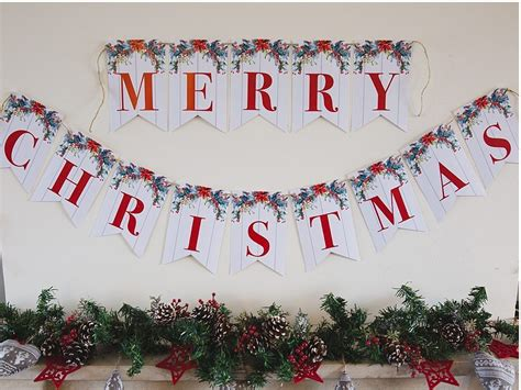 printable merry christmas banner  clever sisters