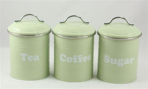 coffee kitchen canisters 3 set metal retro vintage tea coffee sugar kitchen