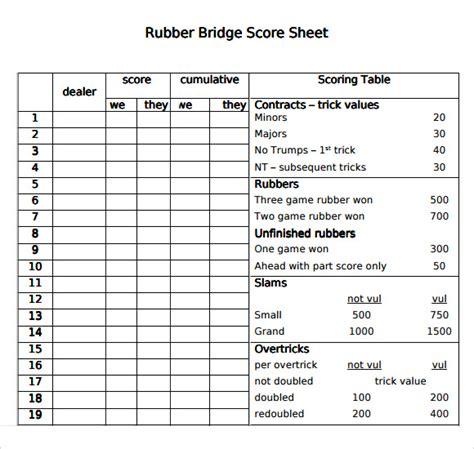 Printable Bridge Score Sheet Template Sle Bridge Score Sheet 9 Free Documents In Pdf