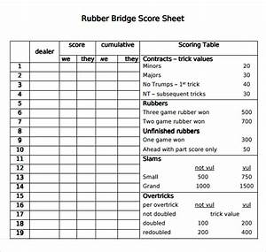 18 playing cards specifications and card bridge With bridge tally template