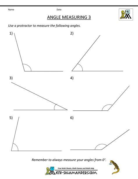 printable geometry sheets angle measuring 3 classroom
