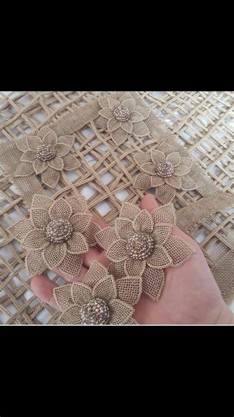 Igne oyalari Artesanías de flores Flores de yute