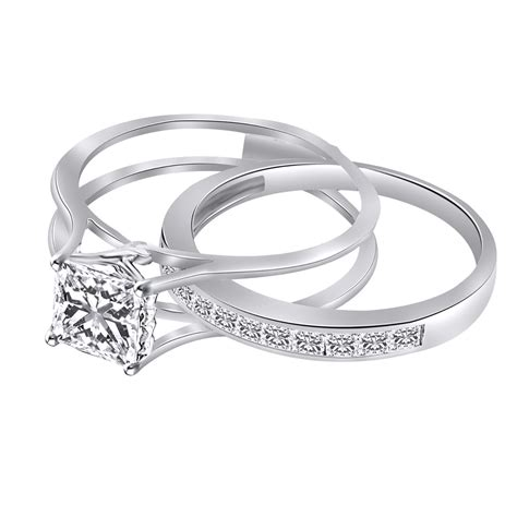2 ct square princess cut engagement wedding ring band solid sterling silver ebay