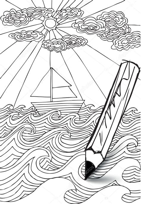 Hand drawn styled sea with clouds, sun and sailor boat ...