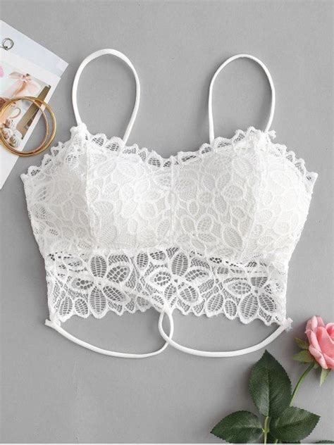 Strappy Floral Lace Bralette floral lace padded strappy bralette s fashions