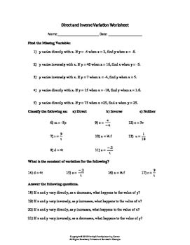 Direct And Inverse Variation Worksheet By Family 2 Family Learning Resources