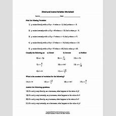 Direct And Inverse Variation Worksheet By Family 2 Family