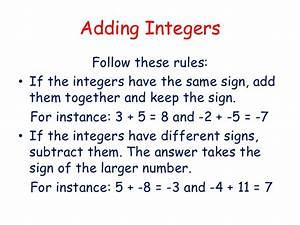Positive Skills Mrs Heys Adding Integers