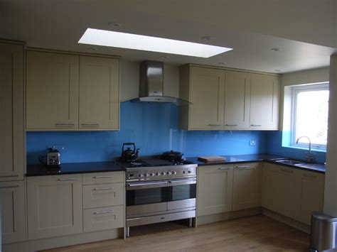 Contemporary Shaker Kitchen With Blue Glass Splashback