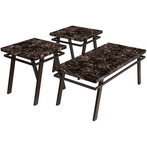 Do you want a marble coffee table without the hefty price tag? 3 Piece Faux Marble Top Coffee Table Set in Brown - FSD-TS3-76FM-GG