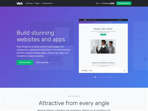 Wingman Landing Page App Template Bootstrap Themes
