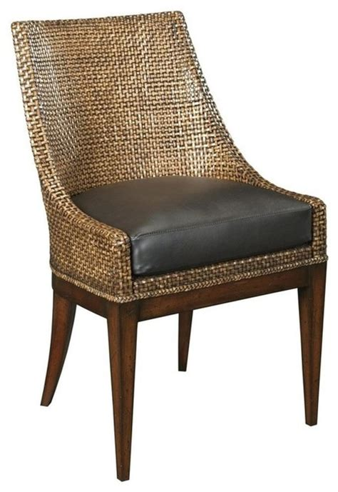 new side chair woven leather upholstered traditional