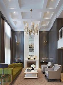 Gorgeous dark walls and high ceilings with minimal but for Interior decoration living room roof
