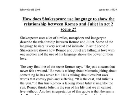 How Does Shakespeare Use Language To Show The Relationship
