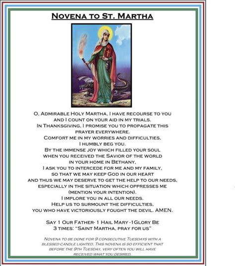 saint martha novena biography printable prayer card