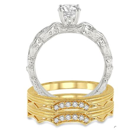 1 00 carat vintage trio bridal engagement ring with princess in 10k white and yellow