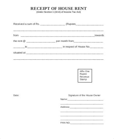 sle rent receipt form 6 exles in word pdf