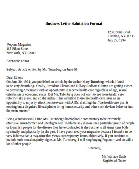 sample business letter salutation  examples  word