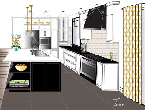 point perspective contemporary kitchen final rendering  final drawing home decor