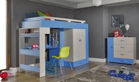 lit combiné armoire bureau lit combin mezzanine bleu ado pas cher avec rangements
