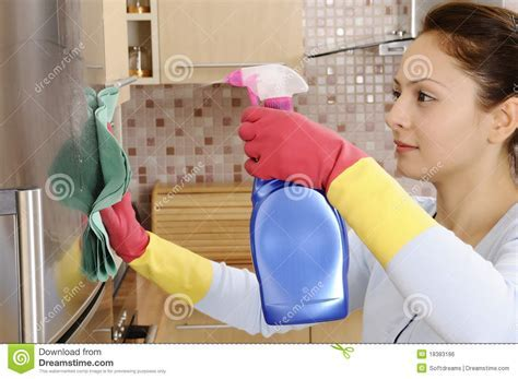 Beautiful Housewife Cleaning The House Stock Photo   Image