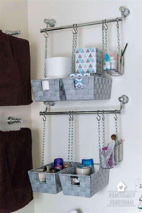 diy hanging storage bins    toilet storage