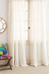 Pom Tassel Curtain Cream Contemporary Curtains By
