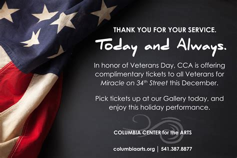 honor  veterans day columbia center   arts