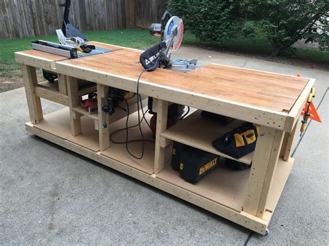 table saw workbench woodworking plans i built a mobile workbench imgur workbenches