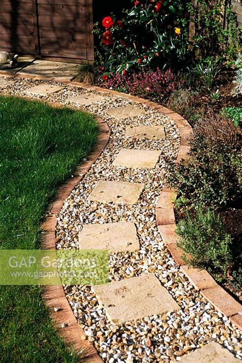 gap gardens gravel path  brick edging  square