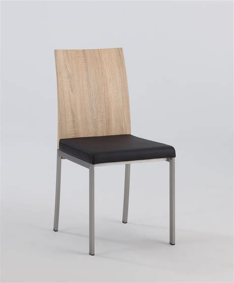 light oak panel back side chair with black upholstered
