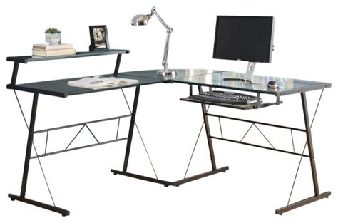 tempered glass computer desk computer desk black metal corner with tempered glass
