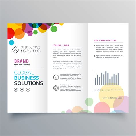 Abstract Colorful Brochure Design Template Vector Tri Fold Colorful Circle Abstract Trifold Brochure Design