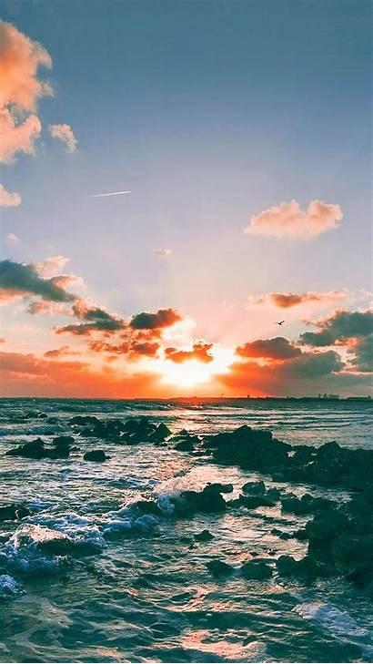 Iphone Plus Retina Wallpapers Ocean Sunset Sea
