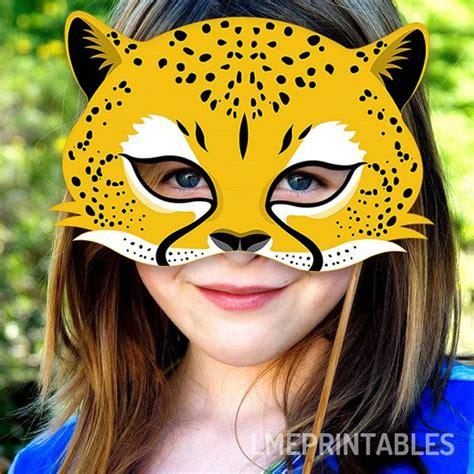 cheetah mask printable jaguar leopard animal masks childrens adults party halloween  costume